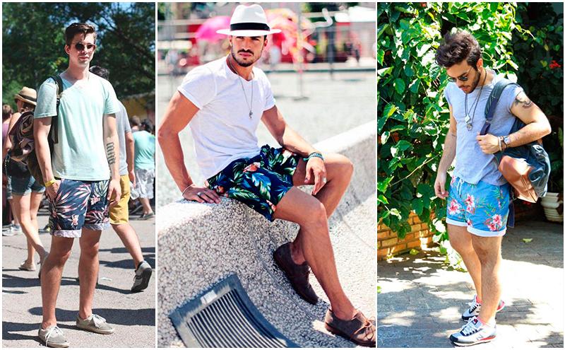 homens usando bermuda tropical