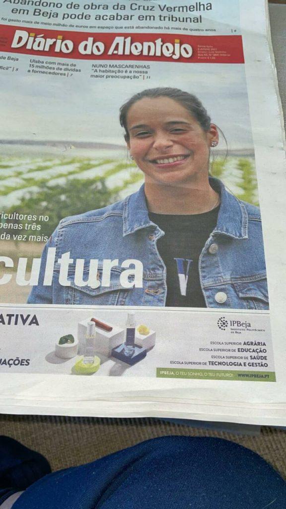 Amanda Ferreira foi capa do maior jornal da região do Alentejo